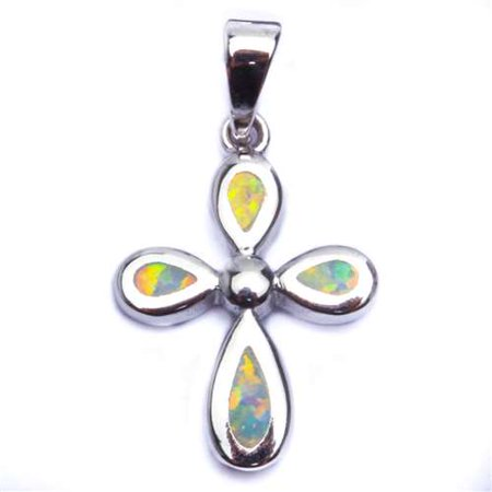 - BEAUTIFUL WHITE FIRE OPAL CROSS .925 Sterling Silver Pendant Necklace
