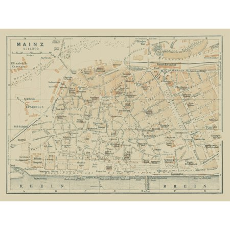 Map Of Germany In 1914.International Map Mainz Germany Baedeker 1914 30 55 X 23