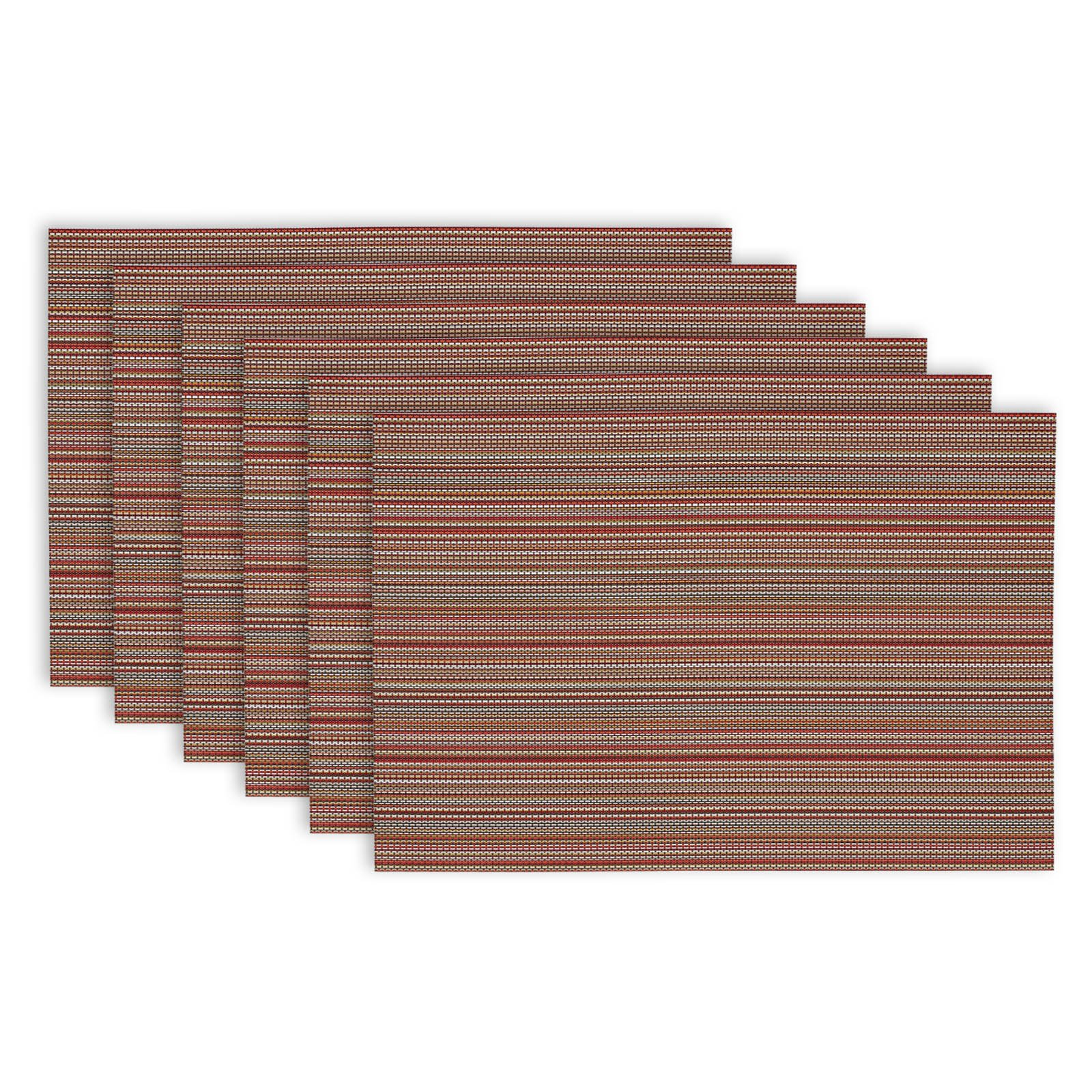 Design Imports Micro Stripe Placemats, Set of 6, Tango Re
