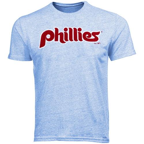 Majestic Threads Philadelphia Phillies 1987-1991 Cooperstown Wordmark Tri-Blend T-Shirt - Light Blue