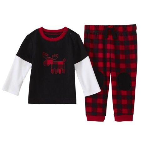 - Infant Boys Layered Long Sleeve Shirt & Fleece Plaid Pant Set