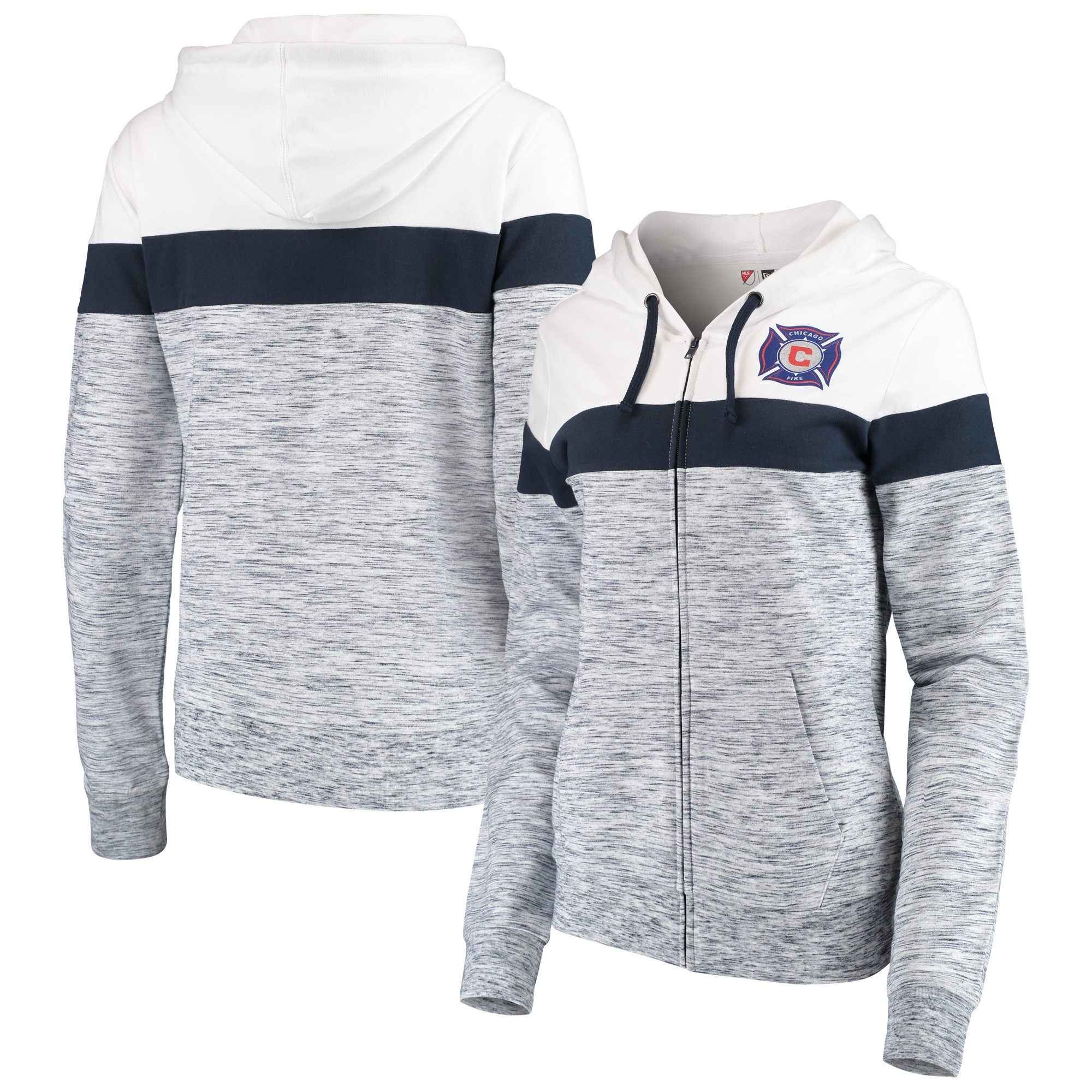 Chicago Fire 5th & Ocean by New Era Women's Space Dye French Terry Full-Zip Hoodie - Navy/White