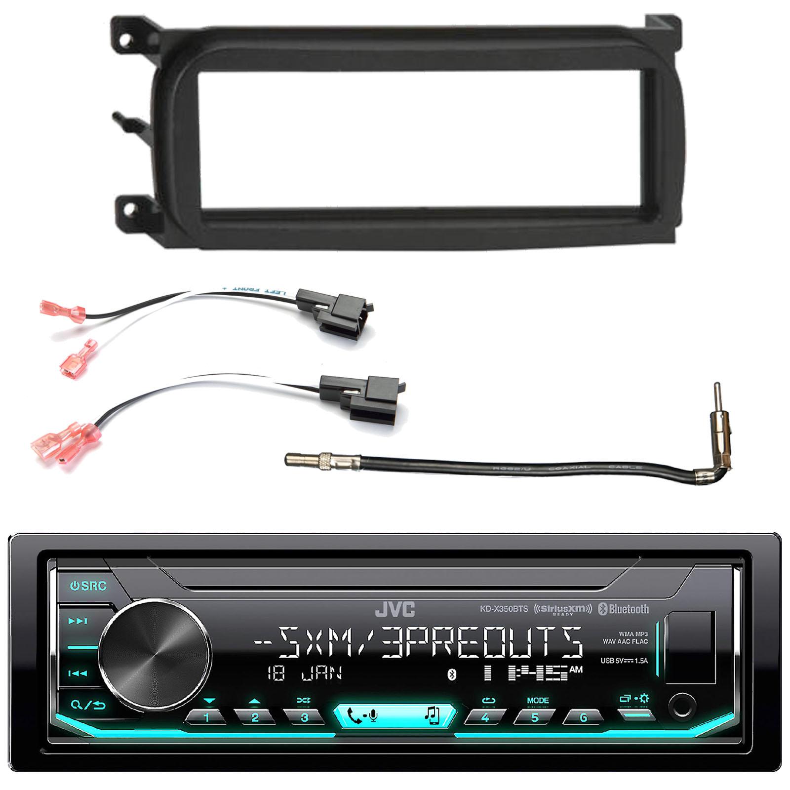 JVC KD-X350BTS Single-Din Car Digital Media Bluetooth Receiver, USB/AUX/SiriusXM, Enrock Single-DIN Dash Kit, Metra 2 Pin Rectangular Speaker Connector, Metra Antenna Adapter Cable