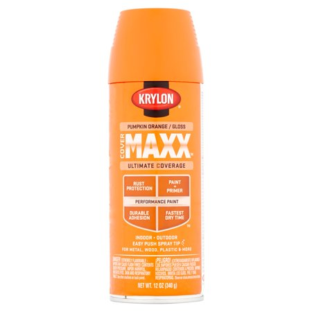 Paint A Pumpkin Kit (Krylon CoverMaxx Pumpkin Orange / Gloss Performance Paint, 12)