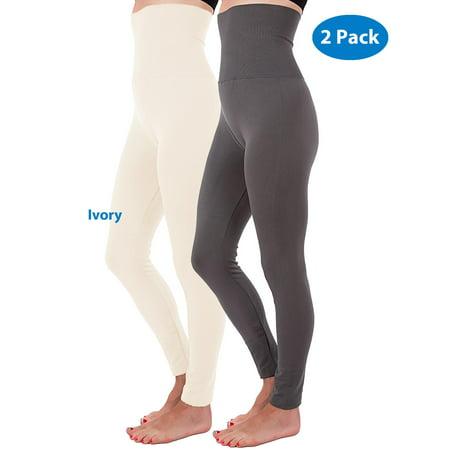 278d83b2c0 N&J Kuda-Moda - 2-Pack Plus Size High Waist Tummy Control Full Length  Legging Compression Top Pants Fleece Lined XL 2XL - Walmart.com