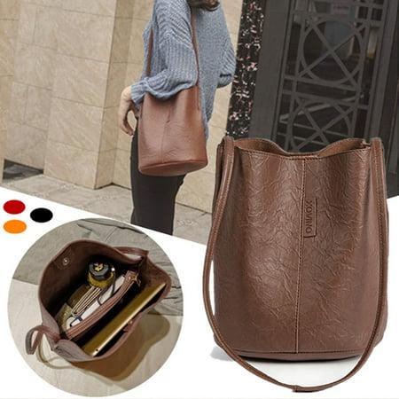 Women Leather Shoulder Bucket Bag Satchel Lady Handbag Shopping Tote Vintage (Leather Bucket Bags Handbags)