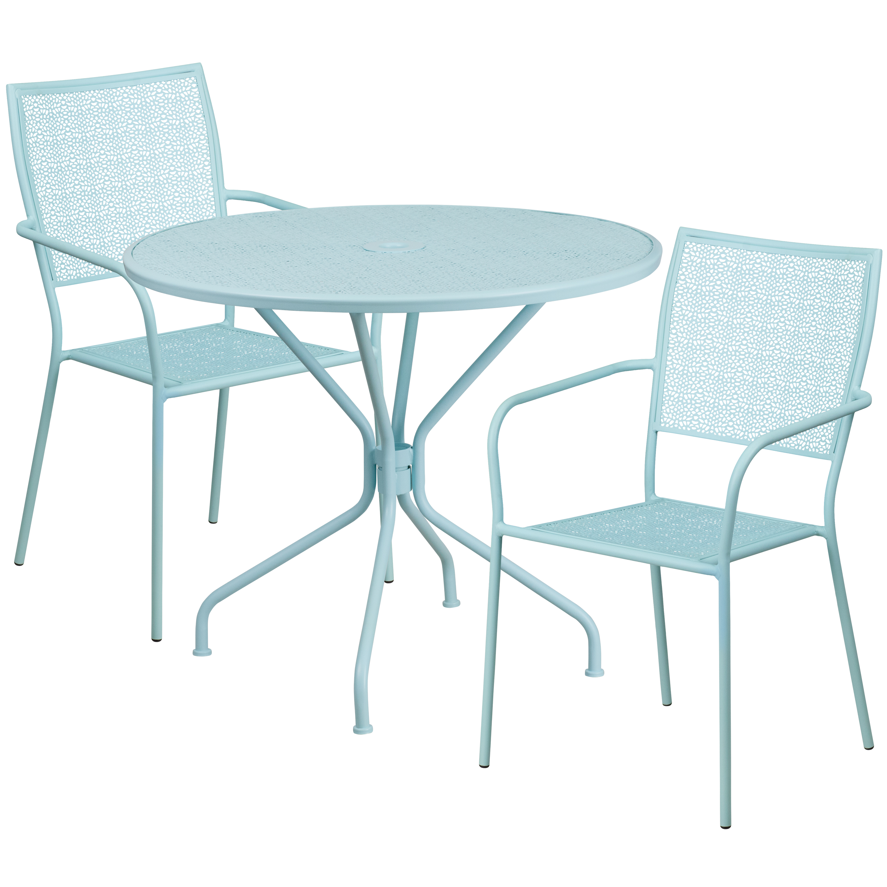 """Flash Furniture 35.25"""" Round Indoor-Outdoor Steel Patio Table Set with 2 Square Back Chairs, Multiple Colors"""