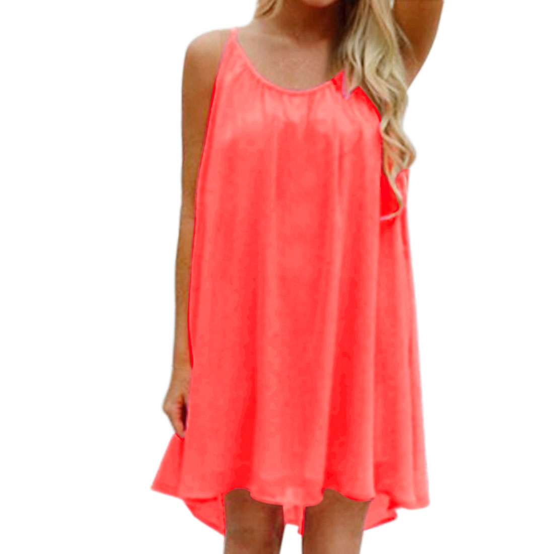 Women Spaghetti Straps Cut Out Back Chiffon Dress Deep Pink XL