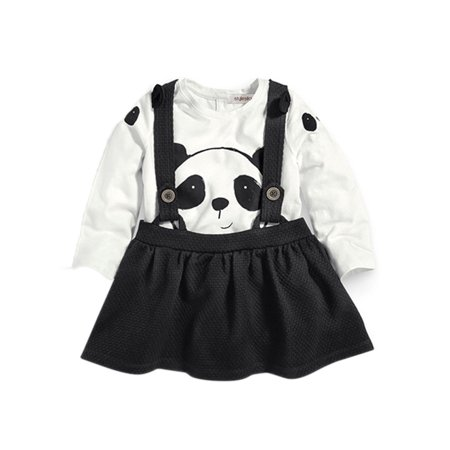StylesILove Little Girls Black and White Panda Top and Skirt with Suspenders Set (2-3 Years)