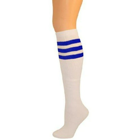 Classic Old School white Striped Tube Socks - Orange Knee Socks