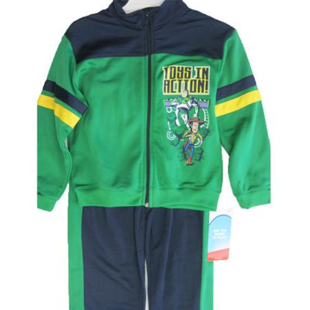 Baby Boys Green Toy Story Themed Print Zipper Striped 2 Pc Pants Set 4-7
