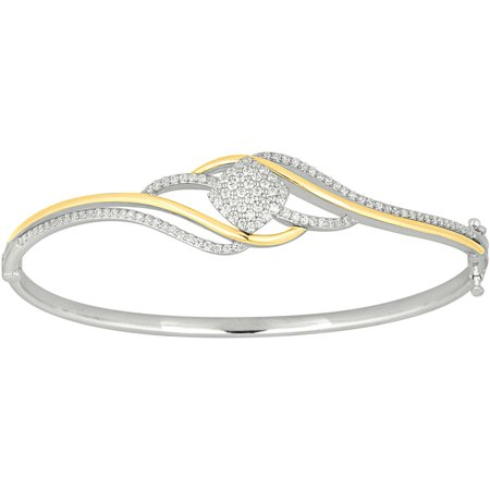 1 Carat T.W. Diamond 10kt Two-Tone By-Pass Silhouette Bangle