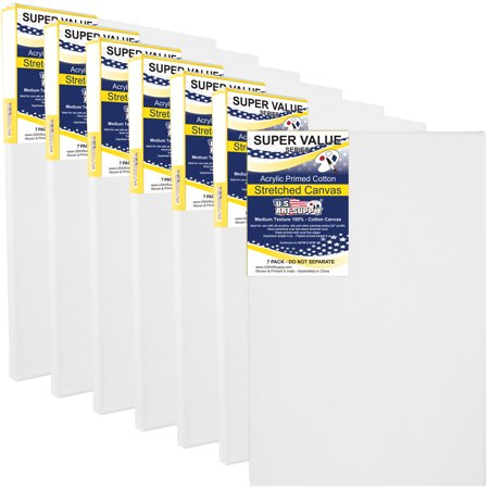 11 x 14 inch Super Value Quality Acid Free Stretched Canvas 7-Pack 14 Count Canvas
