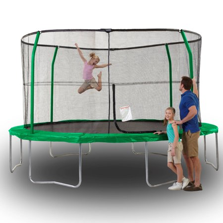 JumpKing Advanced 14-Foot Trampoline, with Enclosure, Green