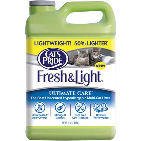 Cat's Pride Fresh and Light Ultimate Care Unscented Hypoallergenic Multi-Cat Litter, 10 lbs