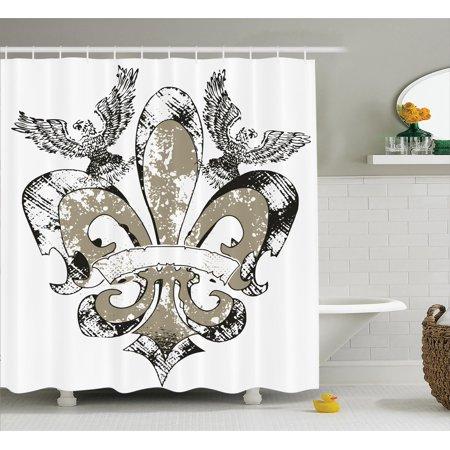 Fleur De Lis Decor Shower Curtain Set, Eagles On Fleur De Lis Emblem Art Power Symbol Victorian Creative Illustration, Bathroom Accessories, 69W X 70L Inches, By Ambesonne