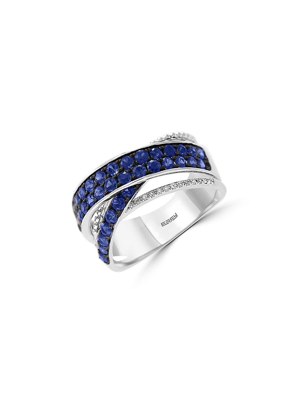 Royal Bleu 14K White Gold, Natural Sapphire & Diamond Ring