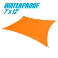 ColourTree 100% BLOCKAGE Waterproof 7' x 12' Sun Shade Sail Canopy Rectangle Orange - Commercial Standard Heavy Duty - 220 GSM - 4 Years Warranty
