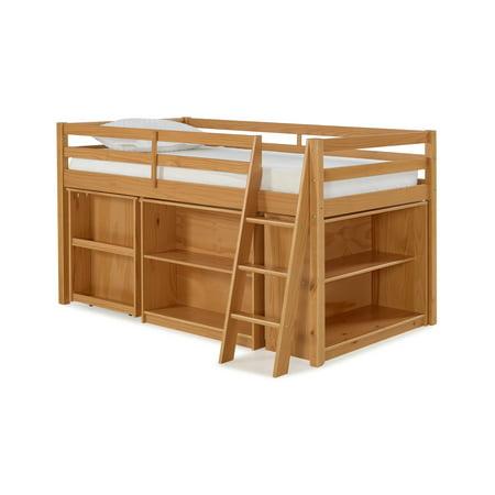 Alaterre Junior Loft Bed Storage Drawers Bookshelf Desk Cinnamon