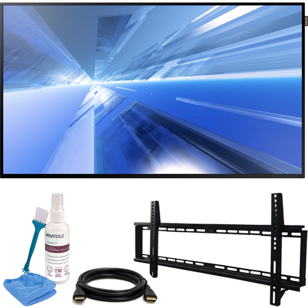 """Samsung Dm-E Series 55"""" 1920x1080 Slim Direct-Lit LED Commercial Display (DM55E) with Vivitar 32-65"""" Low Profile Wall Mount Kit Includes 6' HDMI Cable & Screen Cleaning Kit"""