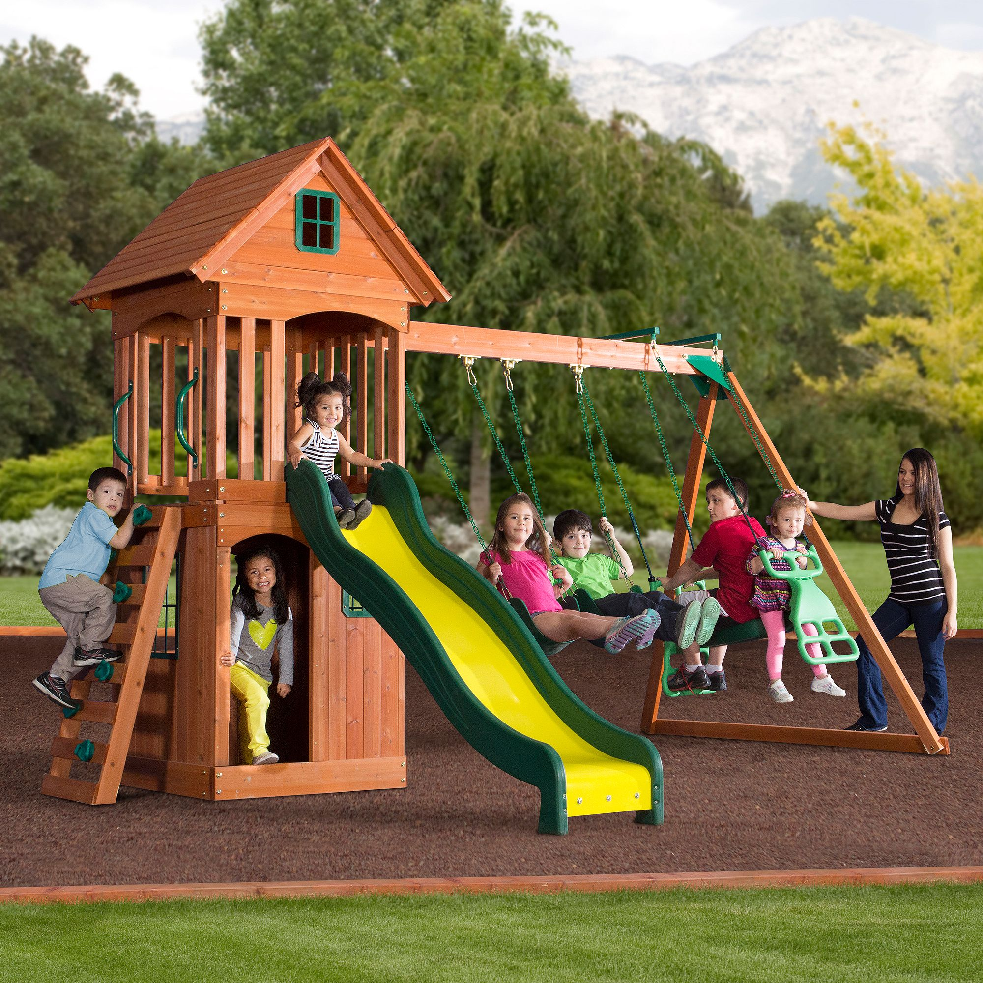 set guide backyard slide assembly outdoor an swing wooden and somerset preparation wood from general discovery pieces big for
