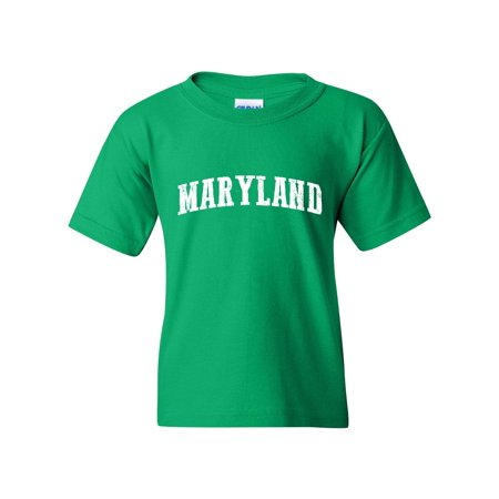 J_H_I MD Maryland Map Baltimore Flag Terrapins Terps Home University of Maryland  Unisex Youth Shirts