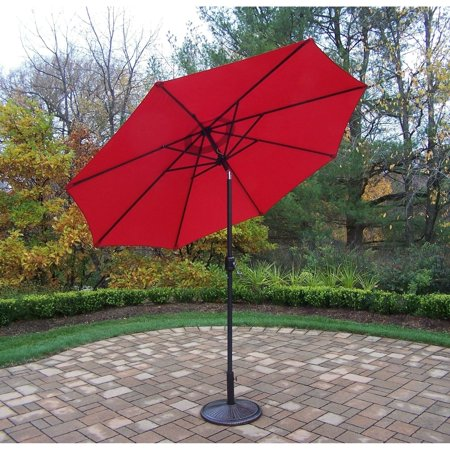 Oakland Living Corporation Orange Metal 9-foot Framed Umbrella with Crank and Tilt system and Cast Iron Stand