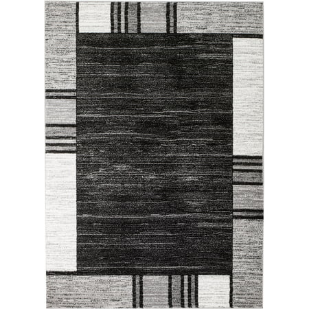 Rio Collection - Gray Geometric Retro Premium Area Rug by Rug and Decor 2x3 Scatter Rug ()