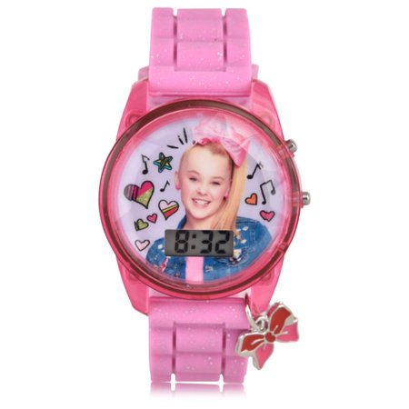JoJo Siwa Girl's Pink Digital Light Up Glitter Watch w/Bow Charm