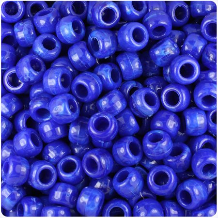 9 Mm Home Defense - BeadTin Bright Blue Marbled 9mm Barrel Pony Beads (500pc)