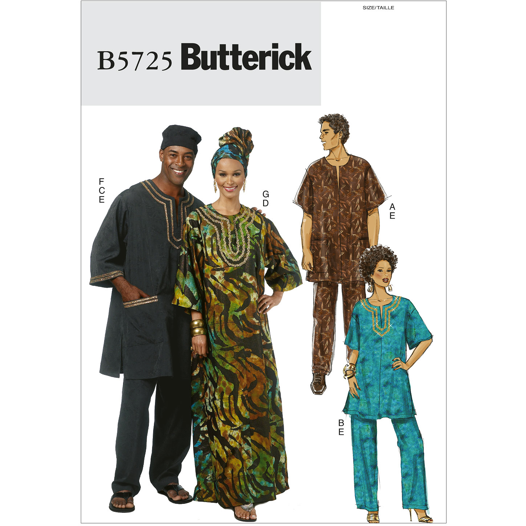 Butterick Pattern Misses' and Men's Tunic, Caftan, Pants, Hat and Head Wrap, XN (XL, XXL, XXXL)