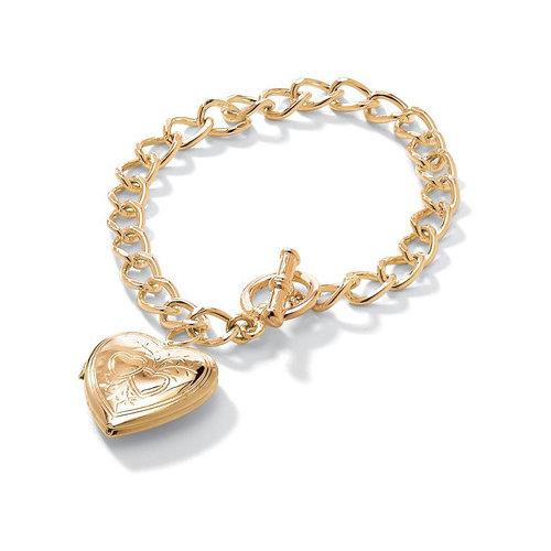 Palm Beach Jewelry Gold Plated Locket Charm Bracelet