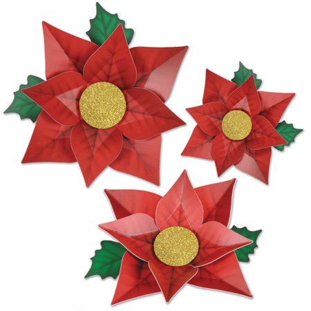 pack of 36 printed red poinsettia christmas cutouts decorations 125 1425 - Poinsettia Christmas Decorations