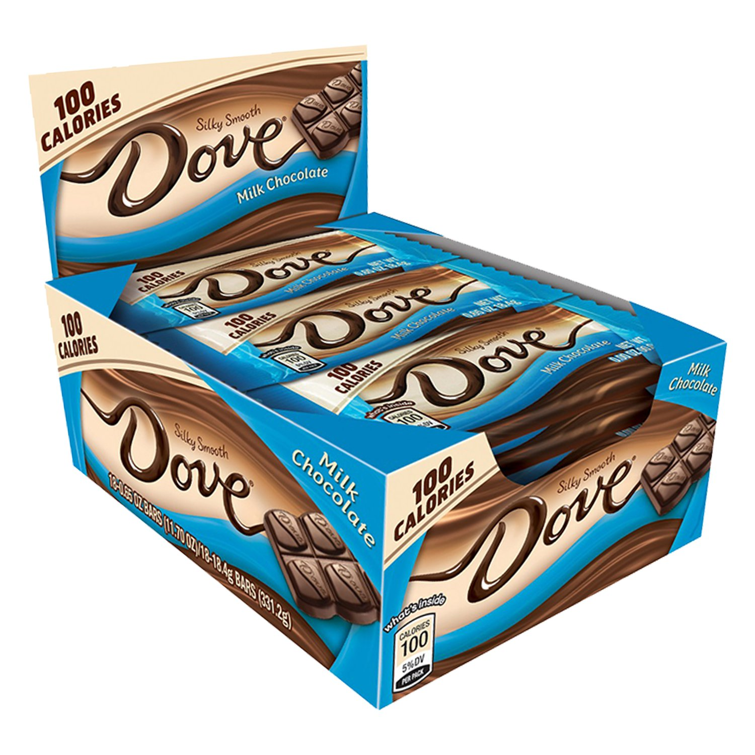 DOVE 100 Calories Milk Chocolate Candy Bars, 0.65 oz 18 Pack