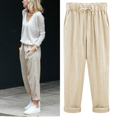 genuine offer enjoy cheap price Womens Linen Pant Casual Elastic Waist Ninth Pants Trousers Wide Leg Pants  Large Plus Size M-6XL Harem Pants