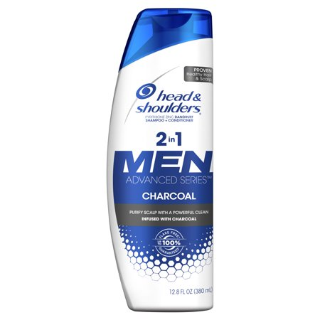 Head and Shoulders Men Advanced Series 2in1 Charcoal Shampoo to Deep Clean & Detox Scalp, 12.8 fl oz