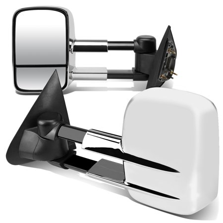 Ford Bronco Towing - For 1997 to 2004 Ford F150 Ford F150 Pair of Powered Extended Arm Manual Folding Towing Side Mirrors (Chrome) 98 99 00 01 02