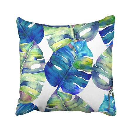 ARTJIA Blue Abstract Floral Garden Watercolor Liana Swimwear Pages Identity Style Green Pillowcase Pillow Cushion Cover 20x20