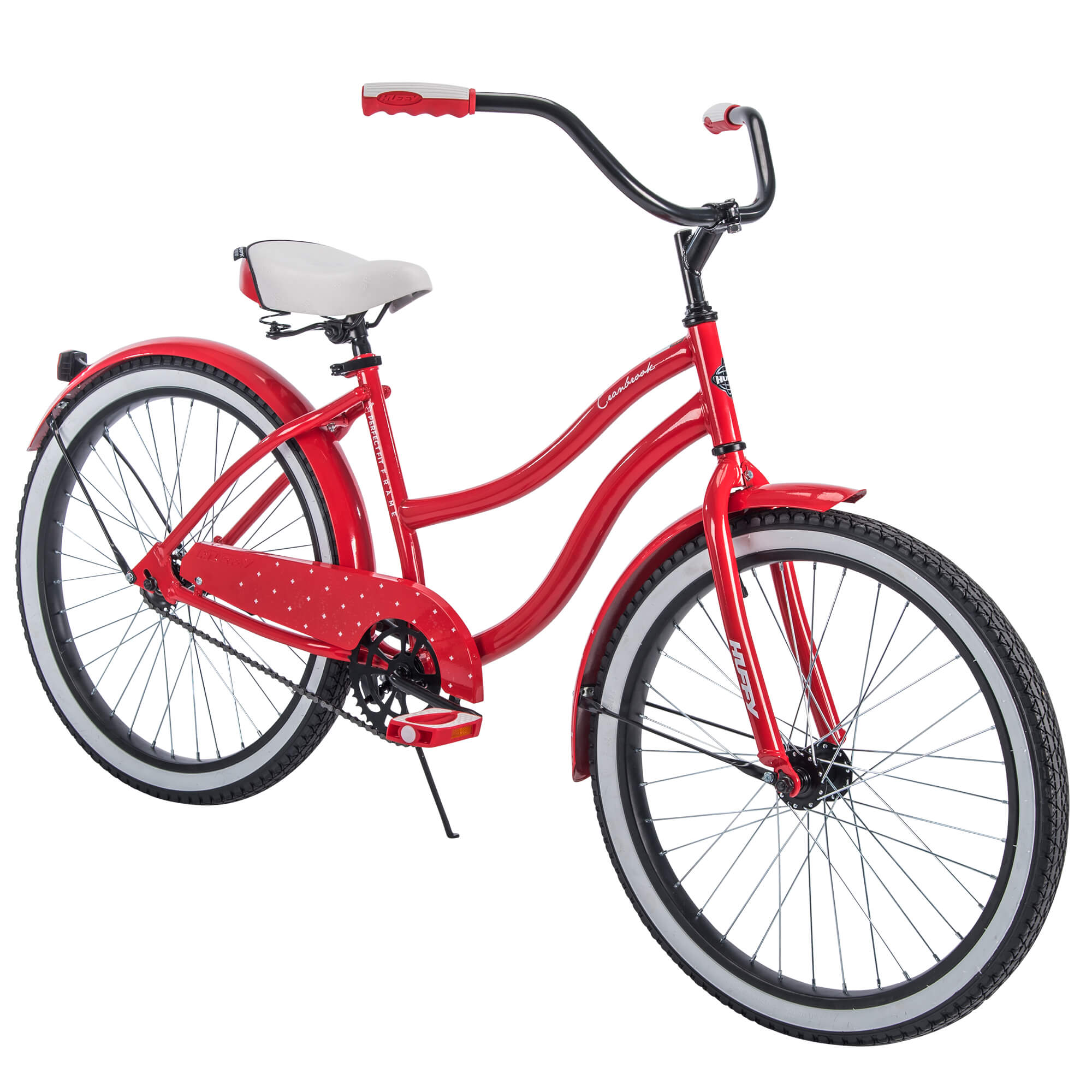 "Huffy 24"" Cranbrook Girls' Cruiser Bike with Perfect Fit Frame, Red."