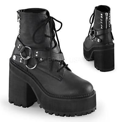 ASST101 BVL Blk Vegan Leather Demonia Vegan Boots Womens Size: 10 by
