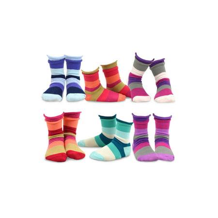 TeeHee Kids Girls Cotton Crew Basic Roll Top Socks 6 Pair Pack (9-10 Years, Indian Stripe)