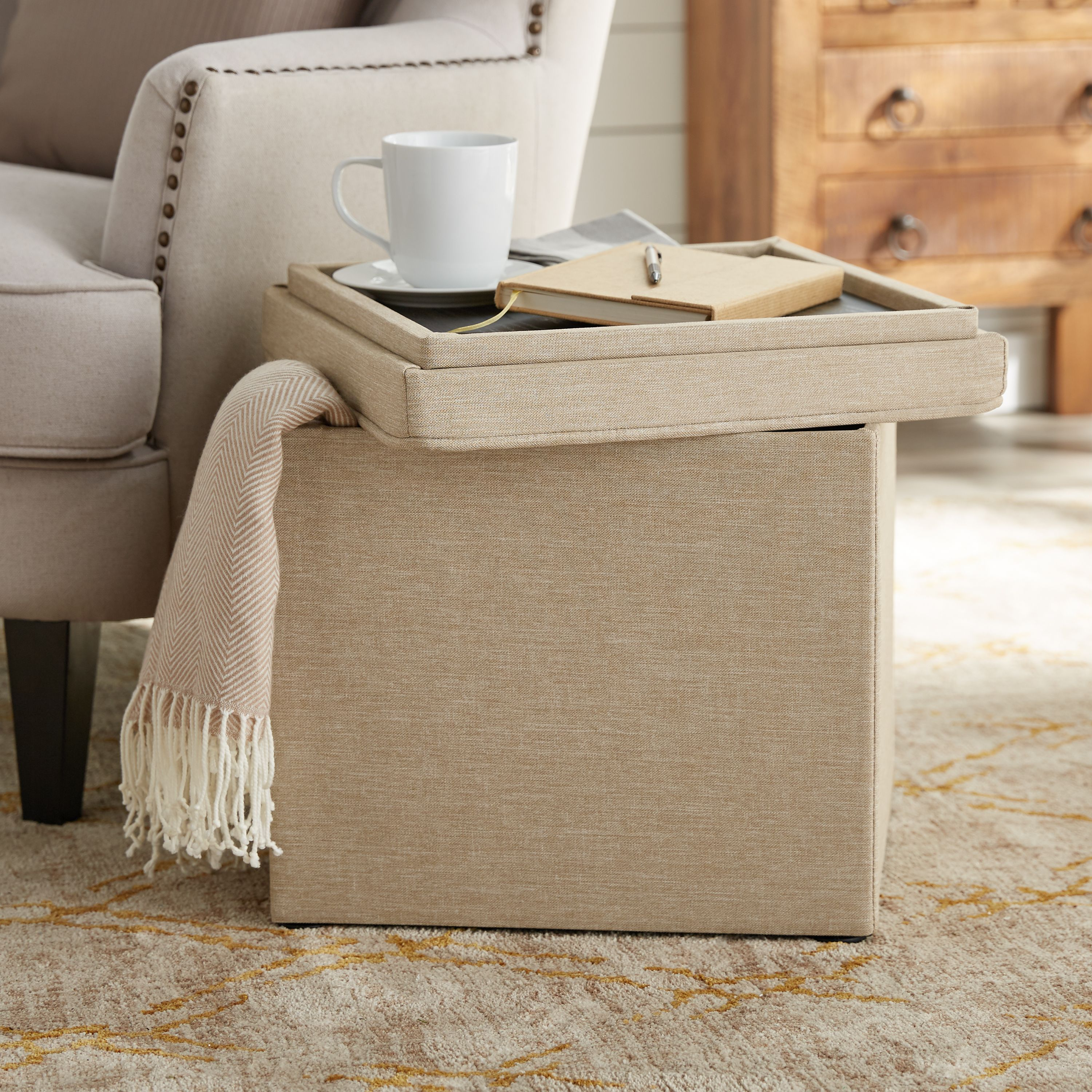 """Better Homes & Gardens Storage Ottoman with Tray, 16"""", Tan"""