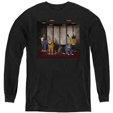 Trevco Sportswear CBS2550-YL-4 Star Trek & Beam Meow Up Youth Long Sleeve T-Shirt, Black - Extra Large - image 1 of 1