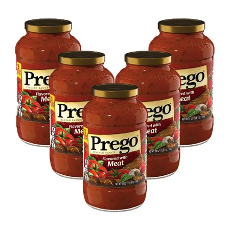 (5 Pack) Prego Italian Sauce Flavored with Meat Sauce, 24 oz. ()