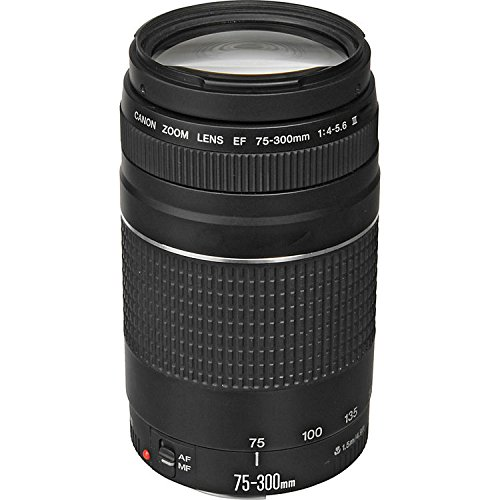 Canon EF 75-300mm f/4-5.6 III Zoom Lens with UV FIlter for Canon EOS 7D, 60D, EOS Rebel SL1, T1i, T2i, T3, T3i, T4i, T5i, XS, XSi, XT, XTi