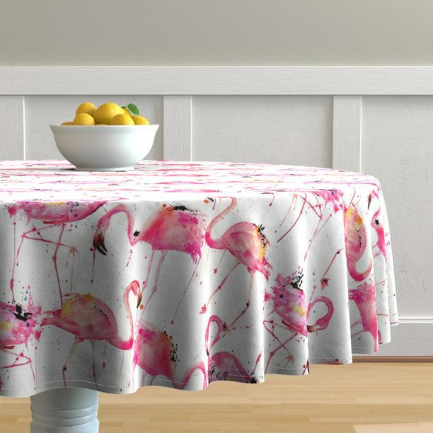 Round Tablecloth Large Scale Pink Flamingo Watercolor Flamingos Cotton Sateen Walmart Com Walmart Com