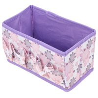 Folding Purple Floral Pattern Cosmetic Makeup Jewelry Storage Box Case Organizer