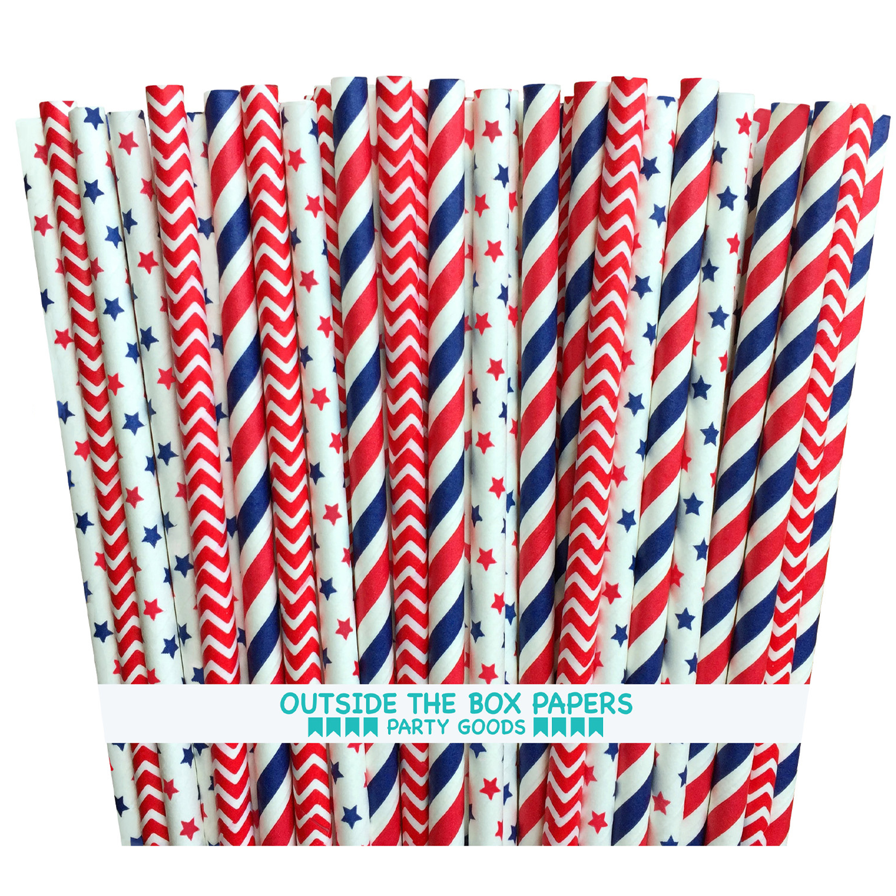 Red, White and Blue Stars, Stripes, Chevron Paper Straws  75 Pk