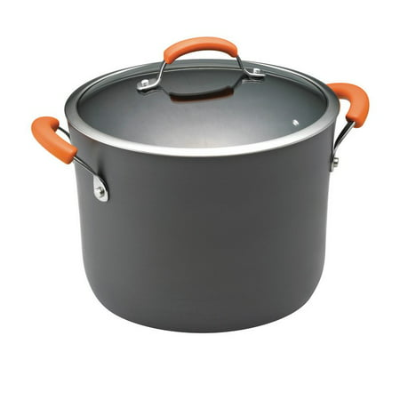 Rachael Ray Hard-Anodized Cookware 10 qt Covered Stockpot with Orange Handles