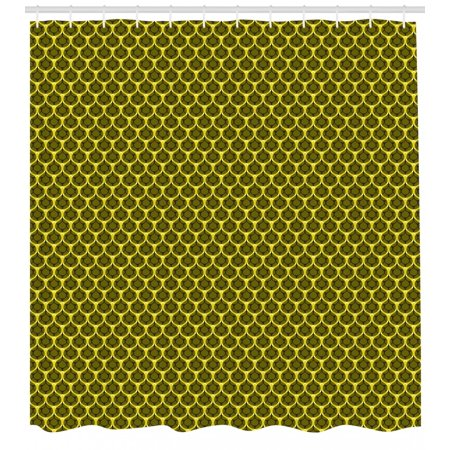 Rain Shower Curtain Bumble Bee Honeycomb Concept Ogee Pattern Inspired Design Of Honey Drops